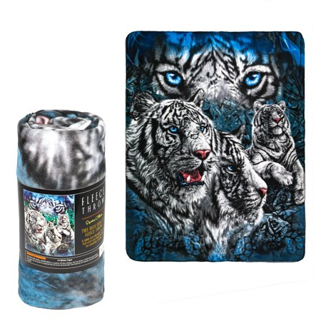 Fleece Throw Blanket - 12 White Tigers - Lightweight Faux Fur Fleece Blanket Large 50