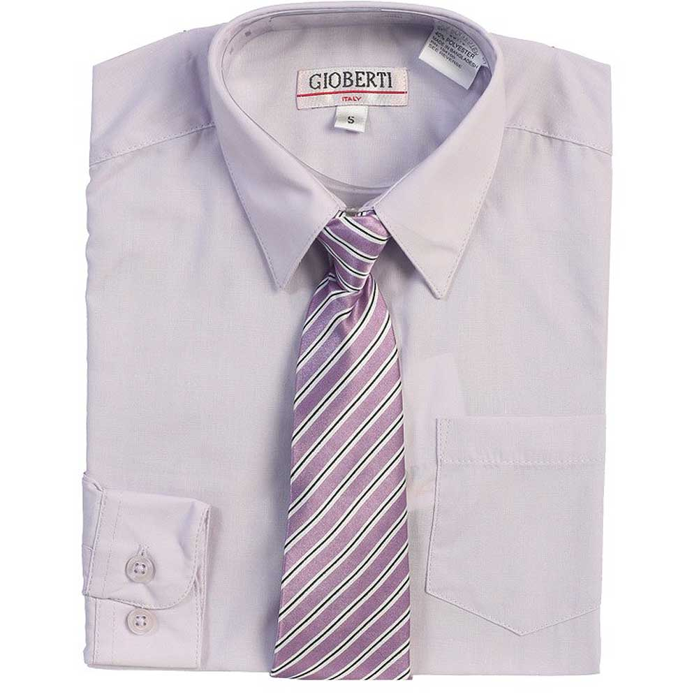 Lilac Button Up Dress Shirt Lilac Striped Tie Set Boys 5-18