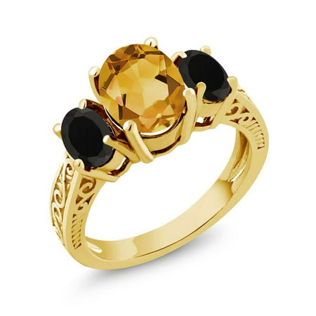 1.93 Ct Yellow Citrine Black Onyx 925 Yellow Gold Plated Silver 3-Stone Ring