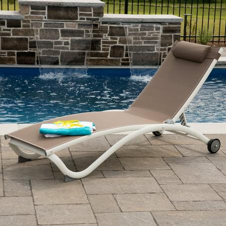 Glendale 4 position Aluminum Pool Lounger w/wheel & Pillow - Macchiato ()