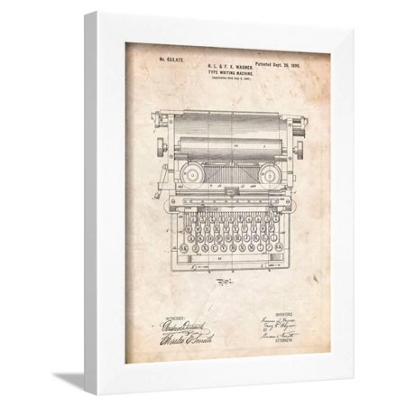 Underwood Typewriter Patent Framed Print Wall Art By Cole