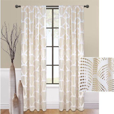 Mainstays Sunrise Metallic Window Curtain Panel](Gold Metallic Fringe Curtain)