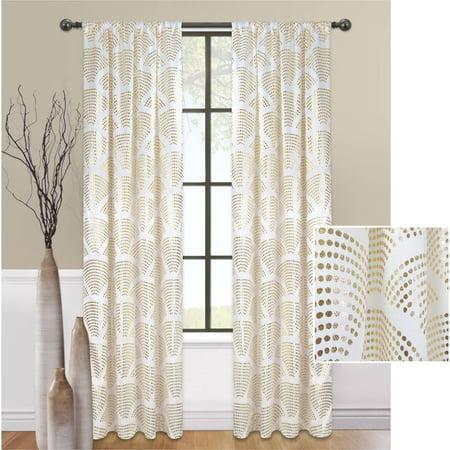 Mainstays Sunrise Metallic Window Curtain Panel](Gold Metallic Curtains)