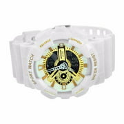 Sports Watches Shock Resistant White & Gold Silicone Strap Digital Analog Mens