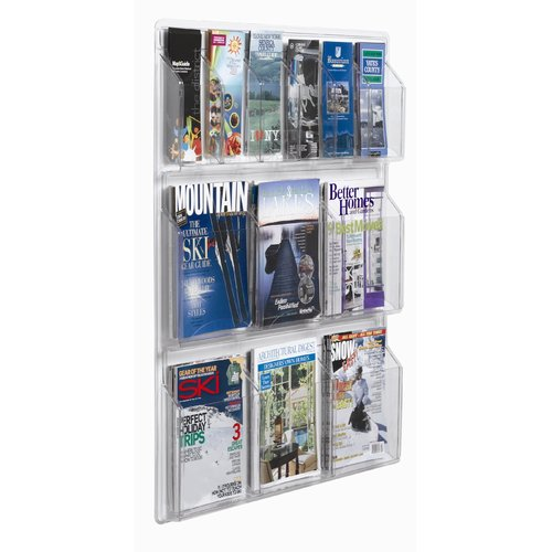 Image of AARCO Clear-Vu 12 Pocket Combination Pamphlet and Magazine Display