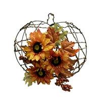 Way to Celebrate Harvest Pumpkin Sunflower Hanging Decorative Sign, Yellow