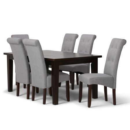 Brooklyn + Max City Contemporary 7 Pc Dining Set with 6 Upholstered Dining Chairs in Dove Grey Linen Look Fabric and 66 inch Wide Table ()