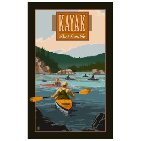 Washington Set - Port Gamble Washington two Sea Kayakers with Orcas Travel Art Print Poster by Mike Rangner (12