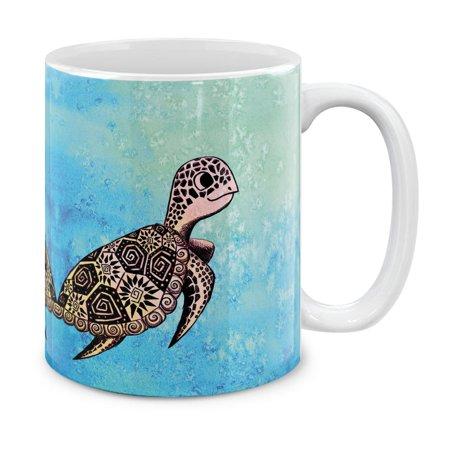 MUGBREW 11 Oz Ceramic Tea Cup Coffee Mug, Cute Turtle On (11 Oz Cute Coffee Mug)