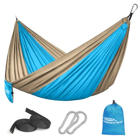 Forbidden Road Hammock Single Double Camping Lightweight Portable Parachute Hammock for Outdoor Hiking Travel Backpacking - Nylon Hammock Swing - Support 400lbs(Blue & Yellow) (Single Nest Light Backpackers Hammock)