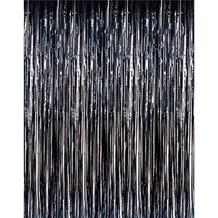 1 PACK 3' x 8' Black Foil Fringed - For Door, Window, Curtain, Wall Decoration, Party Accessory, Parties, Special Events, & Backdrop - - Black Decorations For Parties