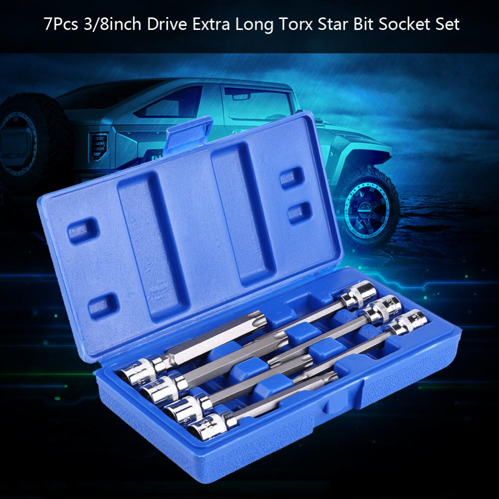 Torx Star Bit Socket Set 7Pcs 3//8inch Drive Extra Long Torx Star Bit Socket Set
