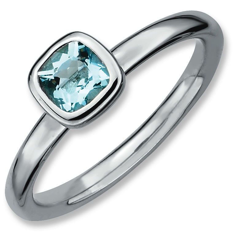 Sterling Silver Stackable Expressions Cushion Cut Aquamarine Ring