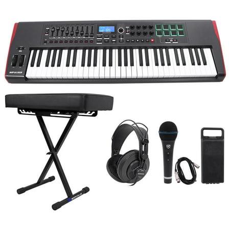 novation impulse 61 key midi usb keyboard controller bench headphones mic cable. Black Bedroom Furniture Sets. Home Design Ideas