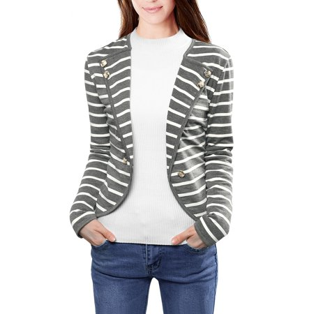 Buttoned Blazer - Women's Notched Lapel Button Blazer