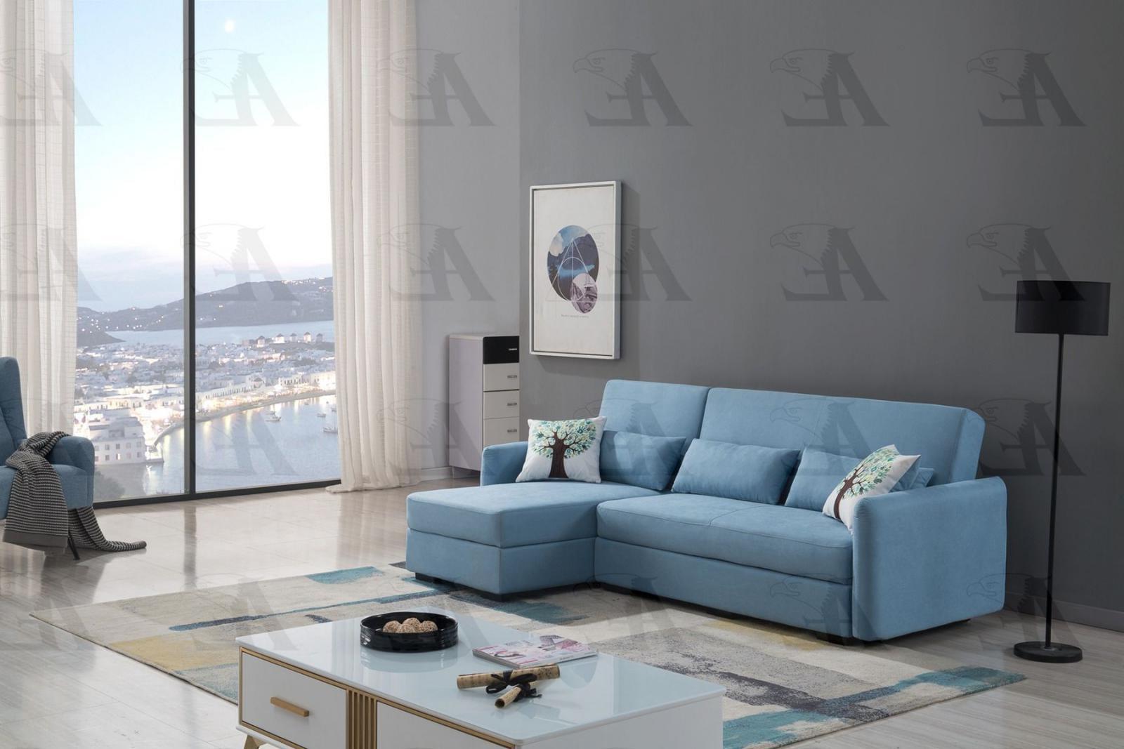 Blue Velvet Sectional Sofa Bed W Storage Left Chaise American Eagle Ae Ld828 Walmart Com Walmart Com