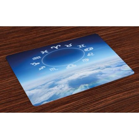 Astrology Placemats Set of 4 Zodiac Signs Aquarius Pisces Aries with Sky Clouds Backdrop Art Print, Washable Fabric Place Mats for Dining Room Kitchen Table Decor,Sky Blue and White, by (Aquarius Place)
