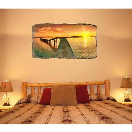 Startonight 48D Mural Wall Art Photo Decor Bridge On The Shore Mesmerizing 3D Bedroom Design Decor Collection