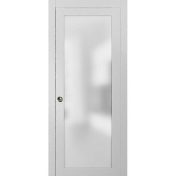 Lite Double Pocket Frosted Glass Doors 56 X 84 Planum 2102 White Silk Pocket Frame Trims Pulls Rail Hardware Bedroom Bathroom Solid Wooded Interior Sliding Door Opaque Glass Walmart Com Walmart Com