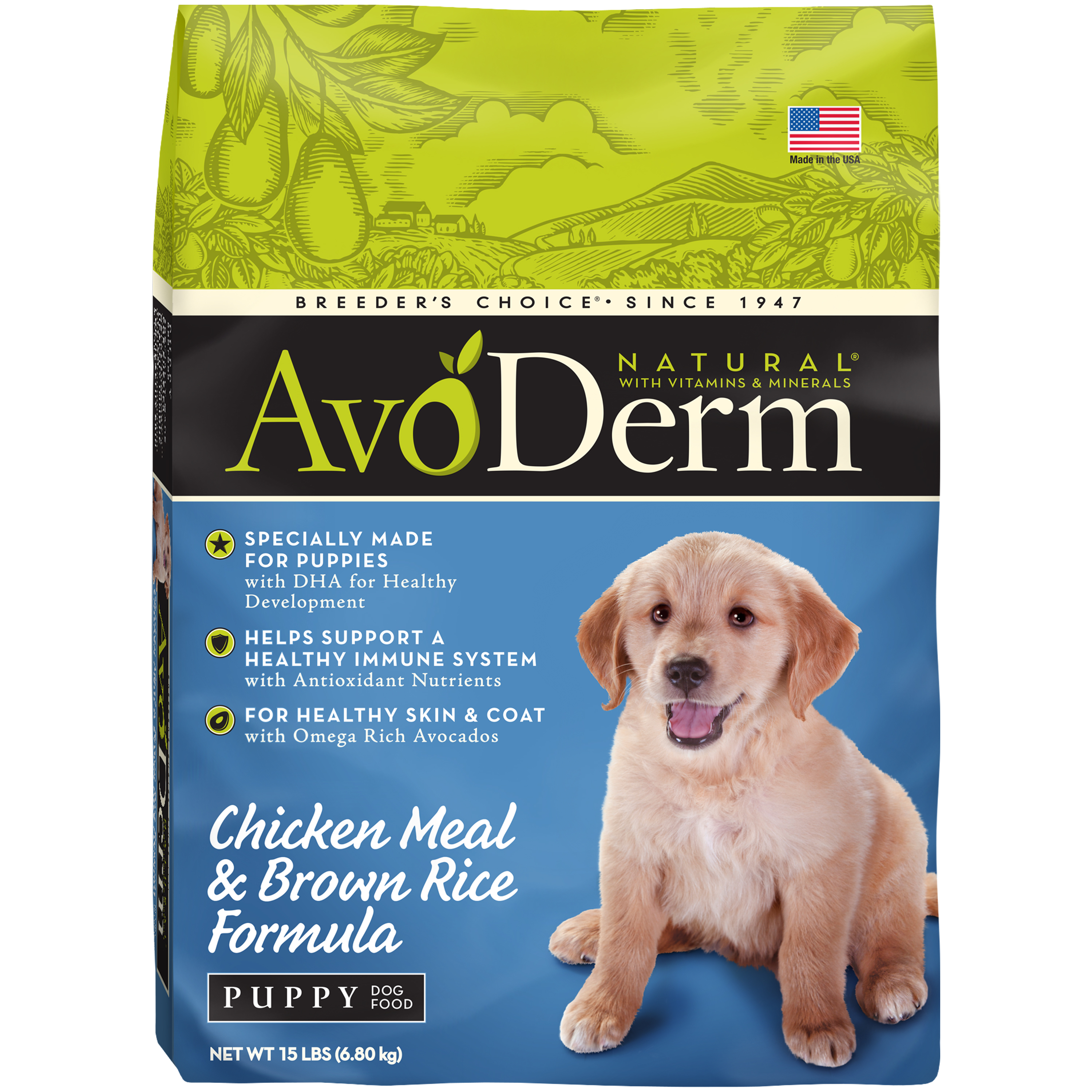 AvoDerm Puppy Food, Natural Chicken Meal and Brown Rice Formula, 15-Pound