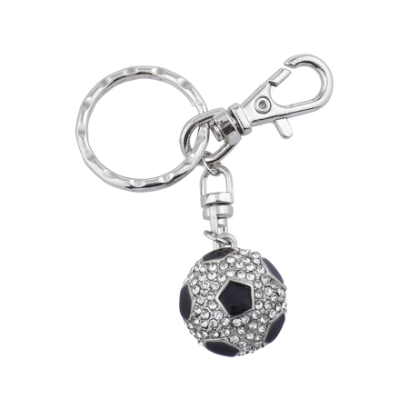 Silver Tone Football Keychain (Lux Accessories Silver Tone Rhinestone Black Soccer Ball Football)