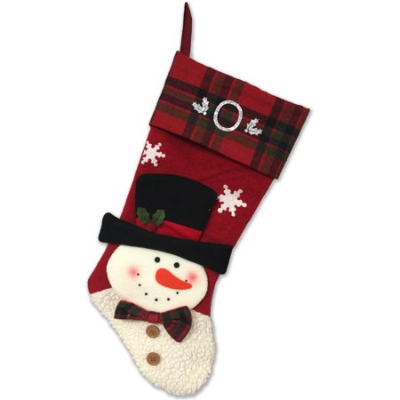 Monogrammed Christmas Stocking (Monogrammed Christmas Stocking, 3D Snowman in Top Hat with Kids Glitter)