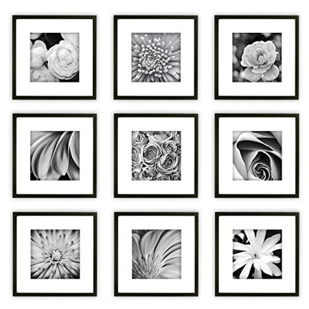 Gallery Perfect 9 Piece Black Square Photo Frame Wall Kit Includes Frames Hanging Template Decorative Art Prints And Hardware