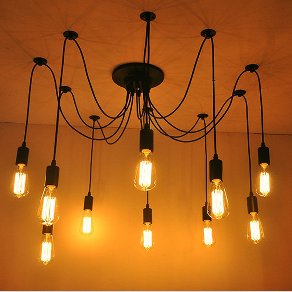 9edfb84014 10 Arms Industrial Ceiling Spider Lamp,Retro E27 Edison Bulb Hanging  Chandelier Lights, DIY Adjustable Modern Chic Pendant Lighting(light bulb  is not ...