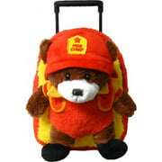 Kids Fire Fighter Bear Animal Plush Luggage Toddlers Roller Backpack