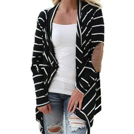 Slim Striped Sweater (Womens Stripe Cardigan Coat Sweater Collarless Long line Slim Sweatershirt Outwear Long Sleeve Tops)