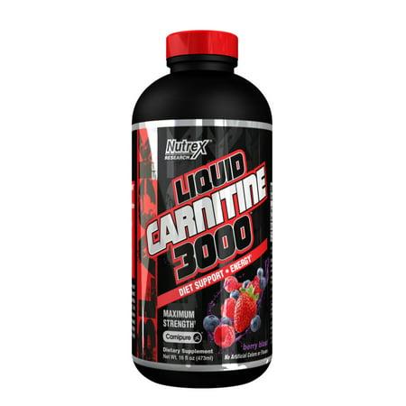 Nutrex Research Liquid Carnitine 3000 Berry Blast, 16 (Best L Carnitine Liquid)