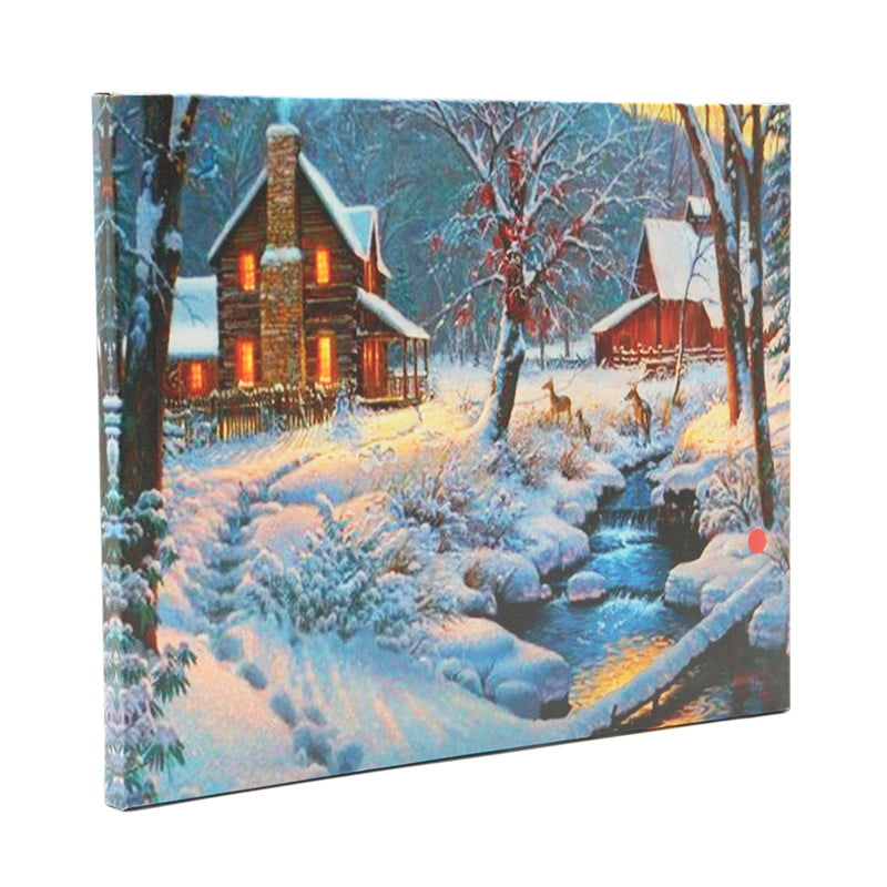 Luminous LED Lighted Light-up Canvas Christmas Night Snow