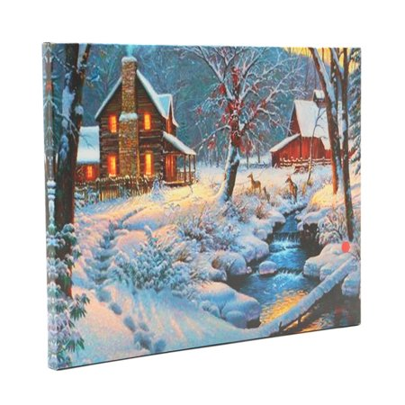 - Luminous LED Lighted Light-up Canvas Christmas Night Snow Cabin Art Picture Print Home Wall Decor Gift 40x30cm