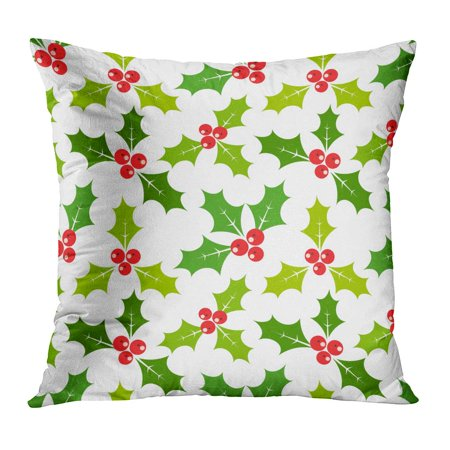 BOSDECO Red Flat Christmas Holly Berries Leaf Pattern Holiday Berry Festive Pillowcase Pillow Cover Cushion Case 20x20 inch - image 1 of 1