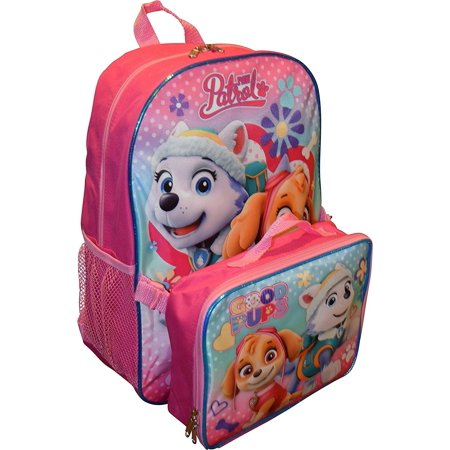 Paw Patrol Girls 15 Inch Backpack with Lunch Kit - Skye and Everest to the Rescue - Backpack With Lunchbox