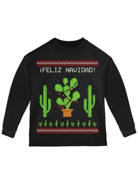 Cactus Desert Feliz Navidad Ugly Christmas Sweater Toddler Long Sleeve T Shirt Black 3T