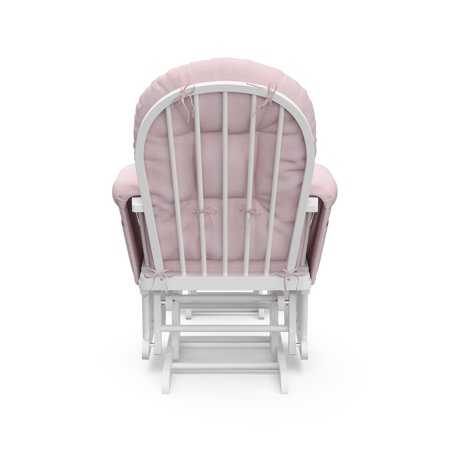 Storkcraft Swirl Hoop Glider and Ottoman White with Pink Blush Cushions
