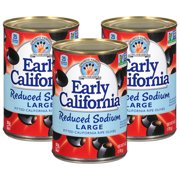 (3 Pack) Musco Family Olive Co. Early California Reduced Sodium Large Pitted California Ripe Olives, 6 oz. Can