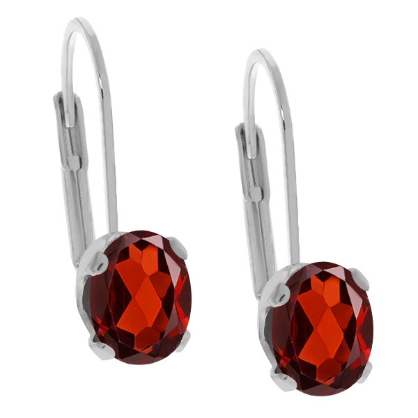 1.80 Ct Oval Red Garnet 925 Sterling Silver Earrings