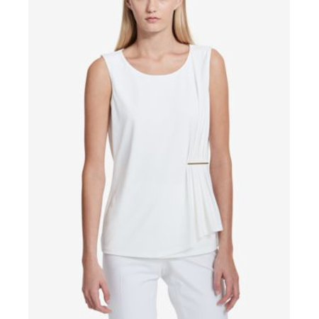 Calvin Klein Gathered Hardware Top Soft White L