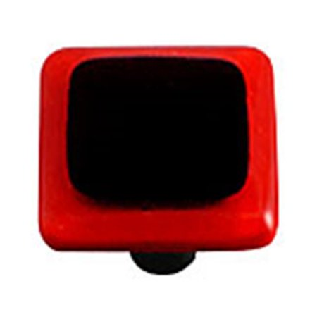 Hot Knobs HK5051 KA Brick Red Border with Black Square Glass Cabinet K
