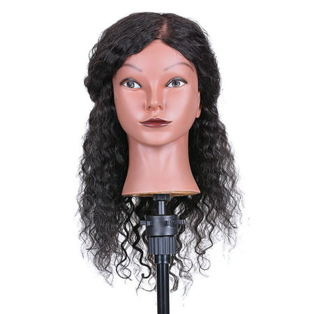 Curly Hair Mannequin Head Hairdressing Training Head for Hair Styling Practice Hair Braiding Dummy Head with 100% Human Hair