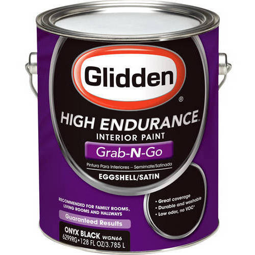 Glidden High Endurance Grab-N-Go, Interior Paint, Eggshell Finish, Onyx Black, 1 Gallon