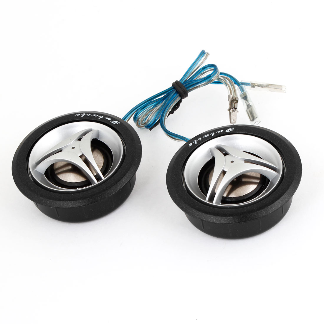 "2.4"" Dome Car Tweeter Speakers Horn Silver Tone Black 2 Pcs"