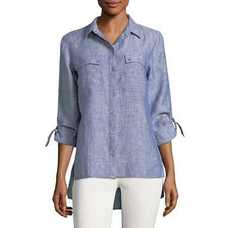 68e04929f JONES NEW YORK - Hi-Lo Linen Button-Down Shirt - Walmart.com
