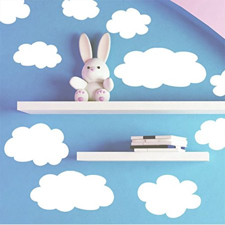 Create-A-Mural Fluffy Cloud Wall Decals -Baby Nursery Room Wall Decor Baby Nursery Wall Decals