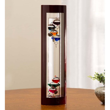 - Galileo Thermometer with Cherry Wood Frame, 3.75