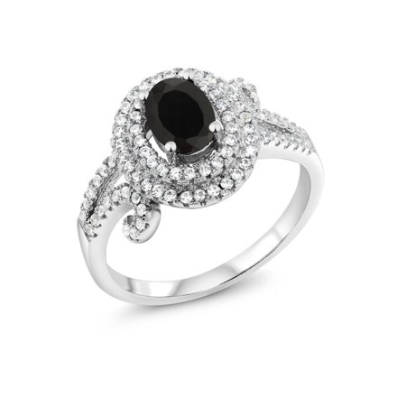 1.93 Ct Oval Black Onyx 925 Sterling Silver Ring