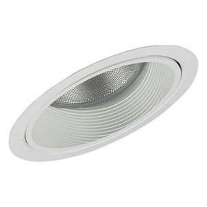 Lightolier 1133WH 6-3/4 Inch Down Light Steep Slope Ceiling Reflector Baffle Trim Round Gloss White Step Baffle Lytecaster