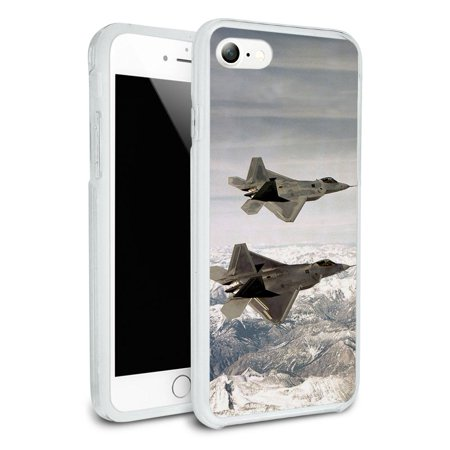 Pair of US Airforce F-22 Raptor Jet Fighters Protective Slim Hybrid Rubber Bumper Case for Apple iPhone (Best Fighter Jet Game Iphone)